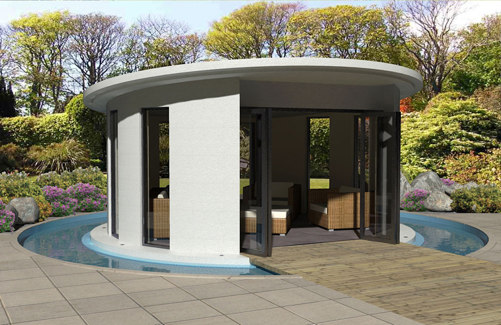 Linc Garden Rooms : Unique round building with water course : Daytime