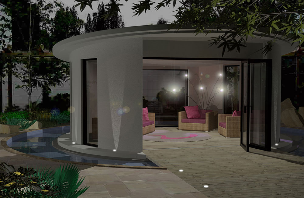 Linc Garden Rooms : Unique round building with water course : Evening -